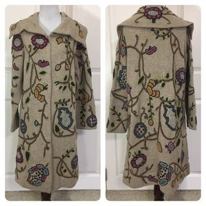 J jill embroidered sweater coat